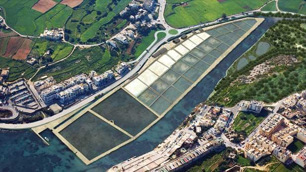 A general shot of the Salini salt pans and what they will look like once the work is completed.
