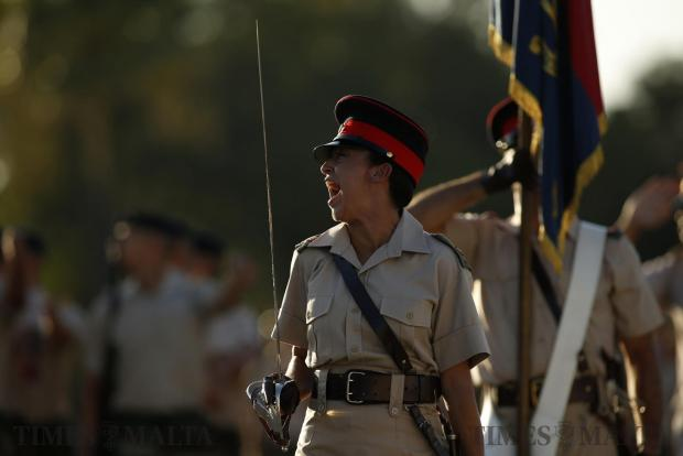 An Armed Forces of Malta officer shouts out orders as new soldiers take part in their passing-out parade after several weeks of basic military training at Luqa Barracks on August 10. Photo: Darrin Zammit Lupi