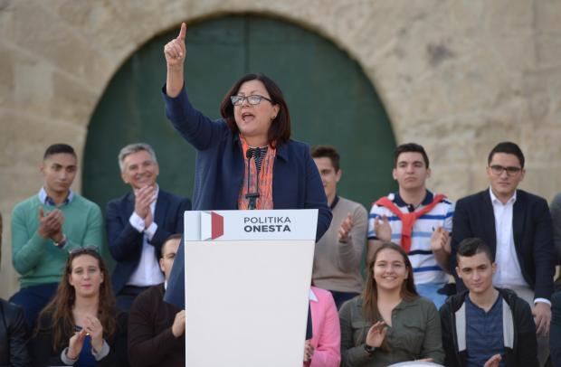 Marlene Farrugia addressing a protest organised by the PN in the wake of the Panama Papers.