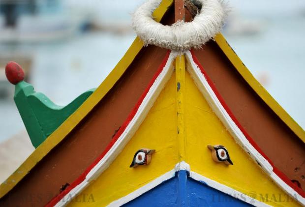 The bow of a traditional Maltese luzzu is seen in Marsaxlokk on February 17. Photo: Chris Sant Fournier