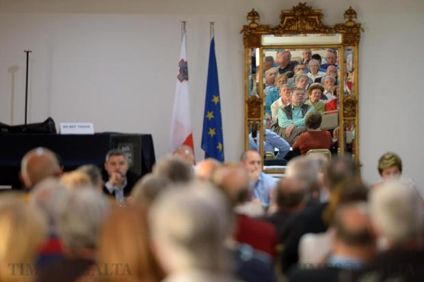 Sliema residents attend a council meeting at the Imperial Hotel in Sliema on May 16. Photo: Matthew Mirabelli