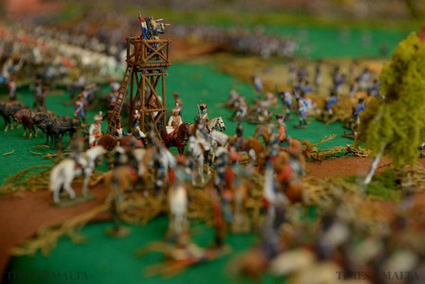 With more than 5,000 hand-painted soldiers, the battle of Waterloo is represented in all its glory on the dining room table of enthusiast Joe Galea Debono on June 19. Photo: Matthew Mirabelli