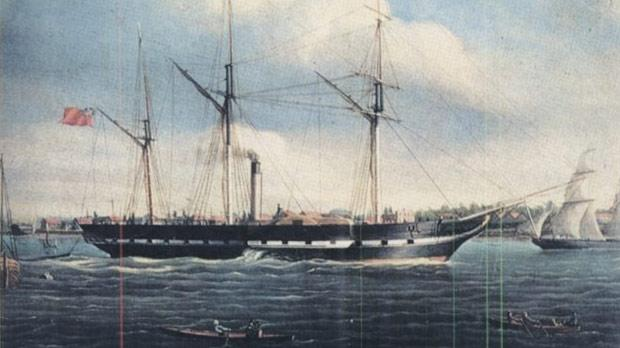 A 1834 painting of the Canadian side-wheel paddle steamship SS Royal William that Louis Shickluna worked on after he moved to Trios Riveres, Quebec, Canada.
