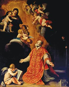 The titular painting of the altar of St Philip Neri. Photo courtesy of Porto Salvo church