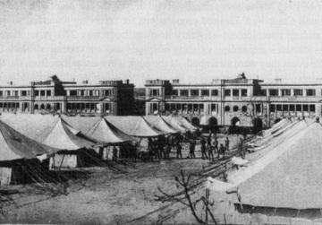 Military hospital, Floriana, with additional tented accommodation. Card by Critien
