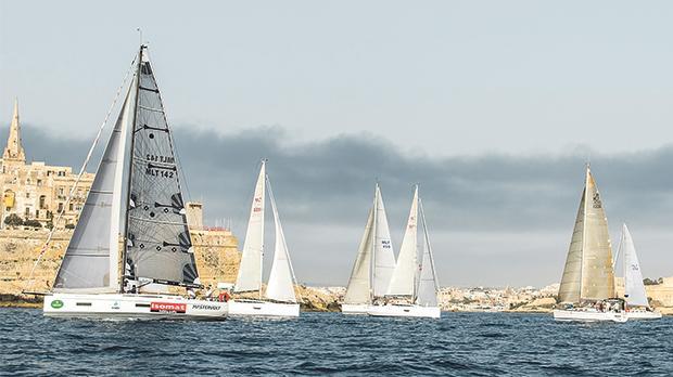 The Marzamemi regatta fleet at Marsamxett Harbour.
