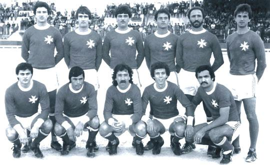 The Maltese national team as they lined up for the infamous match against Poland on December 7, 1980. Back: Norman Buttigieg, Ernest Spiteri Gonzi, Joe Curmi, John Holland, Leli Fabri, John Bonello. Front: Emmanuel Farrugia, Dennis Fenech, Edwin Farrugia, Ġużi Xuereb, George Xuereb.