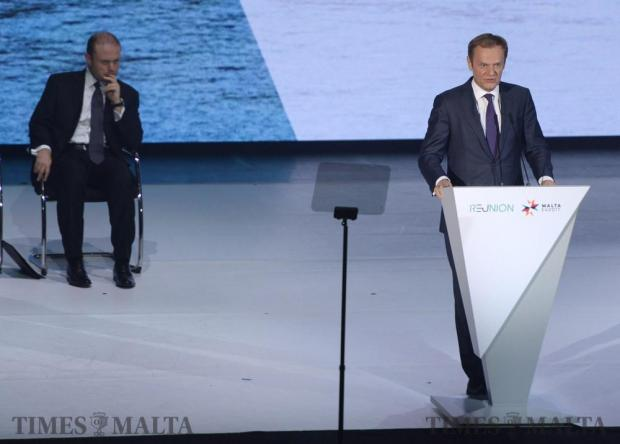The President of the European Council, Donald Tusk (right) delivers his speech watched on by Joseph Muscat (left) at the Malta Presidency opening ceremony at the Mediterranean Conference Centre, Valletta on January 11. Photo: Matthew Mirabelli