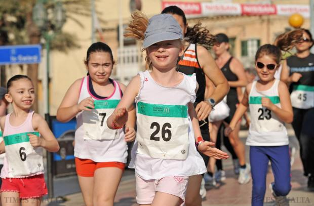 Children tied their shoelaces and sprinted off for a 2.5 kilometre-long run along the St Julian's promenade as part of the Olympic Day Fun Run organized by the Malta Olympic Committee together with McDonalds on June 15. Photo: Chris Sant Fournier