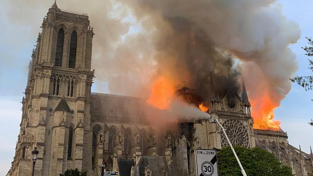 Fire rips through the cathedral. Photo: AFP