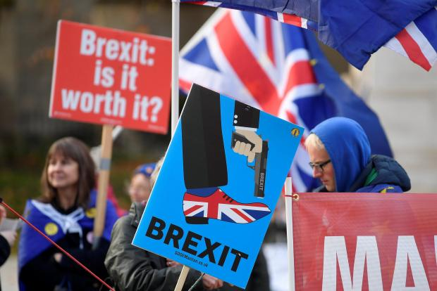 Anti-Brexit protesters hold posters and flags in Whitehall.
