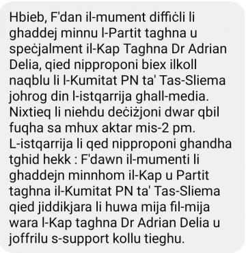 A message sent to the Sliema PN committee.