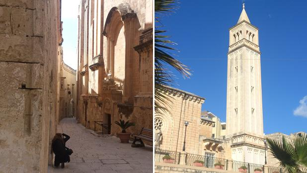 Mdina street. Right: St Anne's Parish Church, Marsascala. Photos: Patricia Mccardle