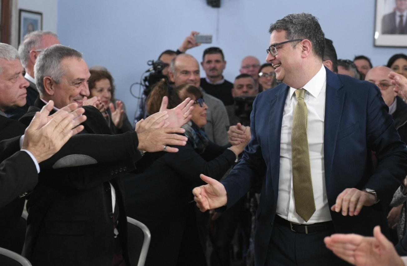 The PN leader was given a hero's welcome at the Mellieha PN club. Photo: Matthew Mirabelli