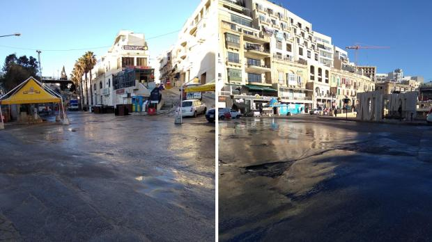 The streets were almost entirely clear and open again to traffic by 7am. Photos: Cleansing Department.