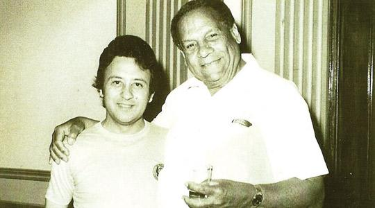 The author (left) with Edmundo Ros, who turns 100 today.