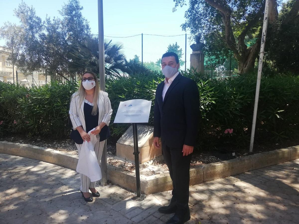 Environment Minister Aaron Farrugia and Floriana Mayor Davina Sammut Hili during the inauguration of the gardens