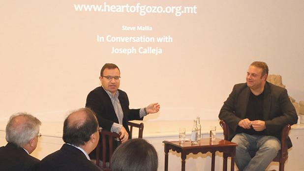 Steve Mallia (left) interviewing Joseph Calleja. Photos: Charles Spiteri