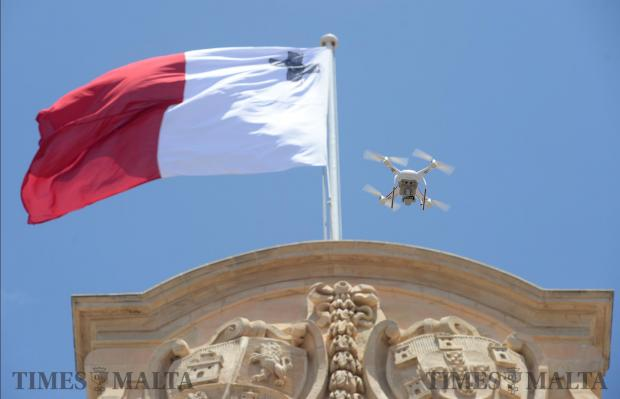 A drone flies over Castille on June 05. Photo: Matthew Mirabelli