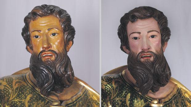 The statue's face and (right) a detail of the mantle before and after the conservation and restoration treatments.