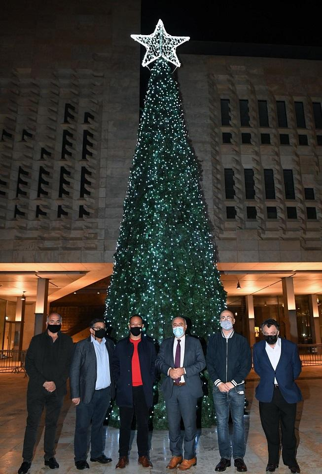 The 12-metre high Christmas tree in Freedom Square. Photo: DOI/Clifton Fenech