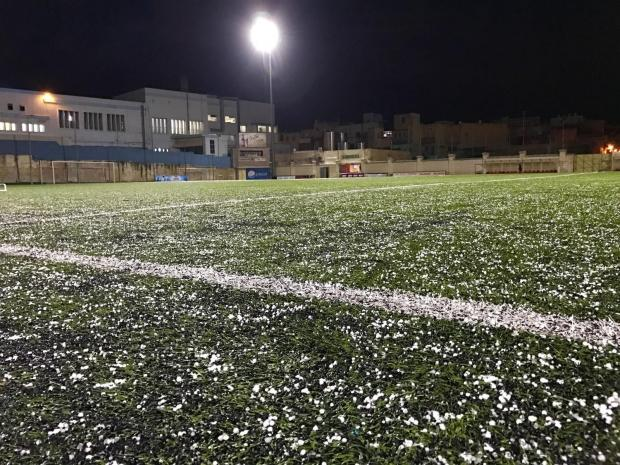 Hail descended on the Victor Tedesco Stadium on January 16 as cold weather continued to batter the Maltese islands. Photo: Mark Zammit Cordina