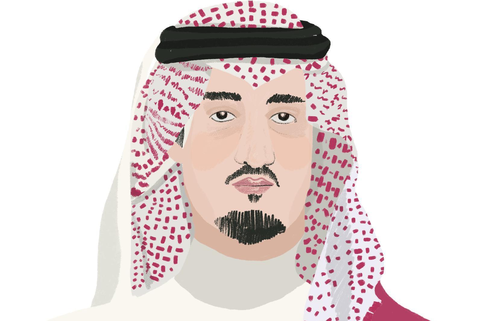 A sketch of Prince Bander Al Saud. Sketch: The Daphne Caruana Galizia foundation