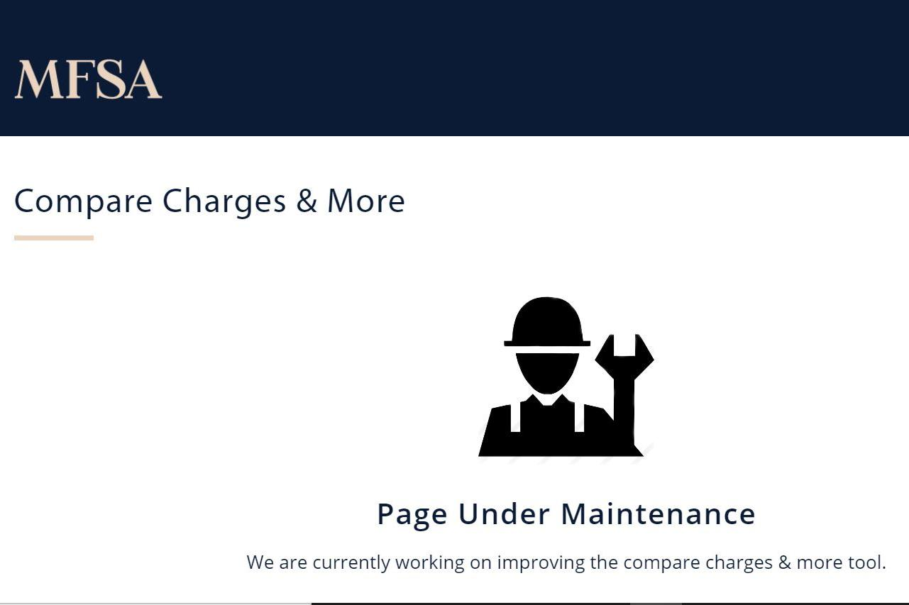 The MFSA 'Compare Charges & More' section is under maintenance.