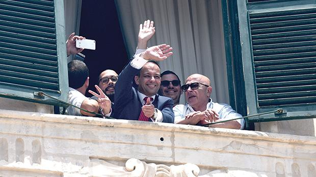 Ronnie Pellegrini, right, with V18 chairman Jason Micallef and other party officials awaiting the return of Joseph Muscat at Castille following the last general election. Photo: Matthew Mirabelli