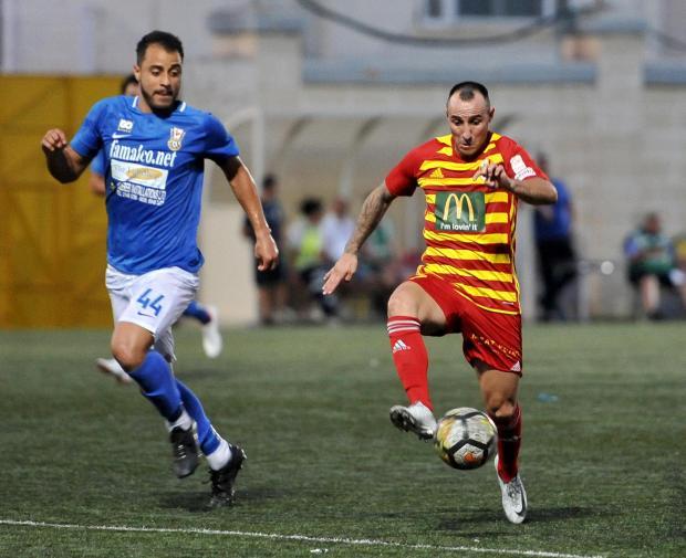 Michael Mifsud (right) scored his first league goal for Birkirkara against Pietà Hotspurs. Photo: Chris Sant Fournier