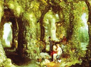 Jan Breughel: Odysseus in an amorous encounter with the nymph Calypso.