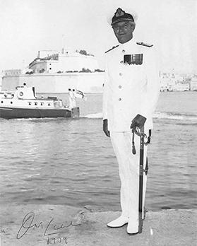 Rear Admiral Nigel Cecil in Malta in 1979, with Fort St Angelo in the background.