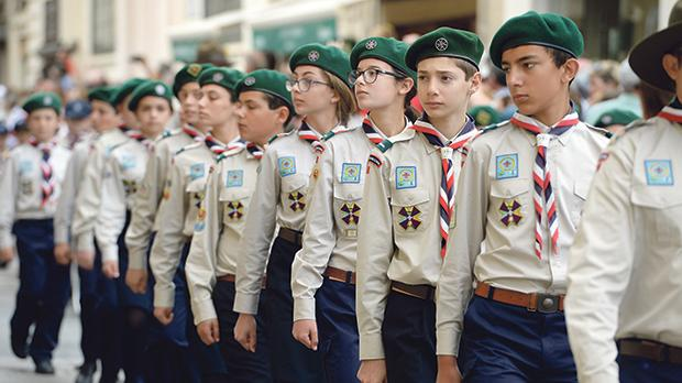 The Scouts parading through Valletta yesterday.