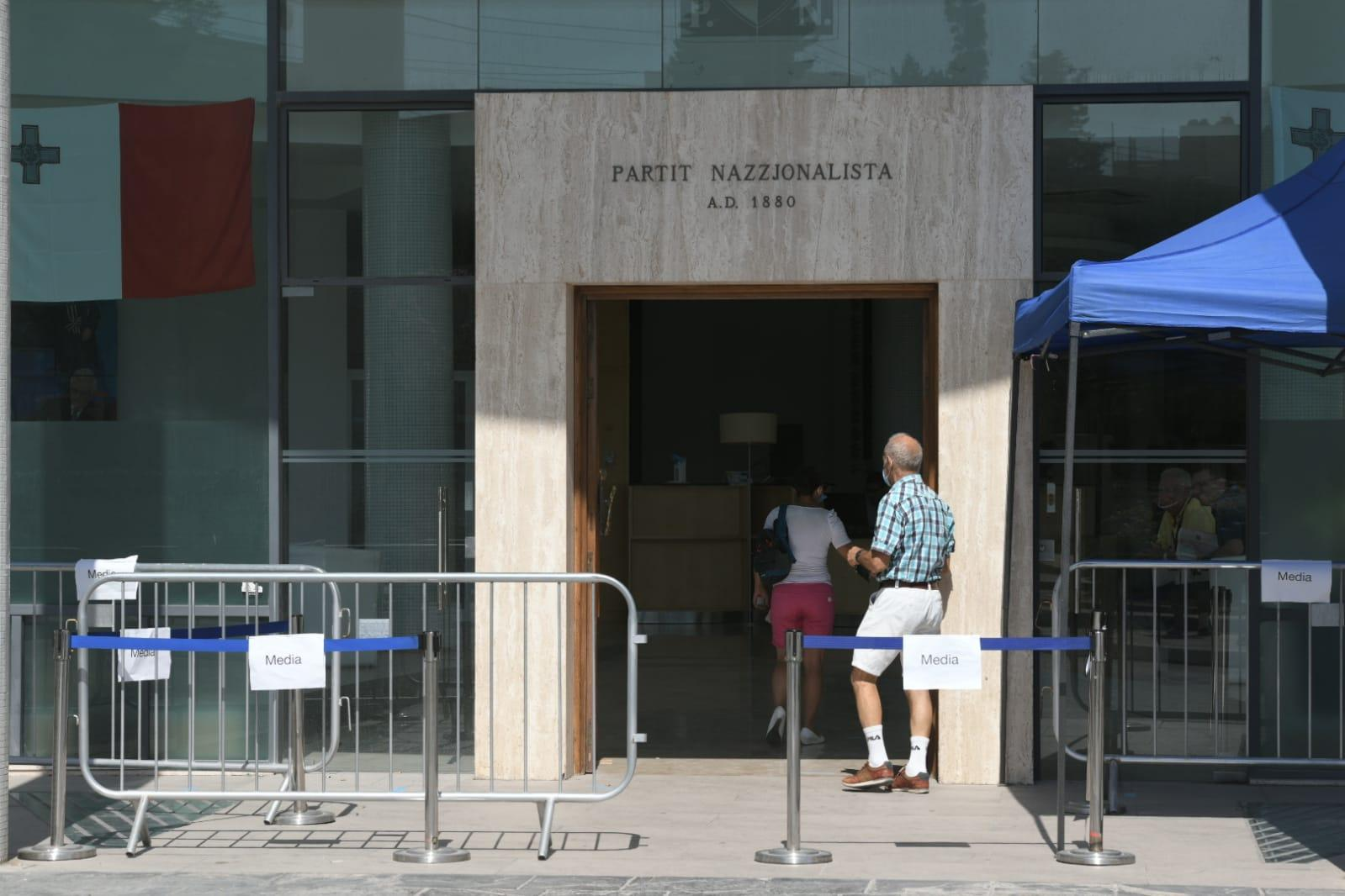 A councillor enters PN headquarters to vote on Saturday.