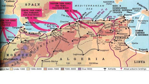 Map of the Allied invasion of French North Africa, November 1942.