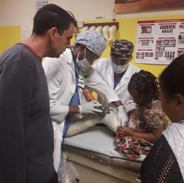 Removal of a cast at CURE hospital in Ethiopia.