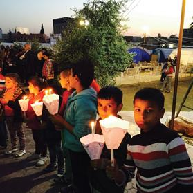 Christian refugees at the Mar Elia displacement camp in the city of Erbil, who are looked after by Fr Douglas Bazi.