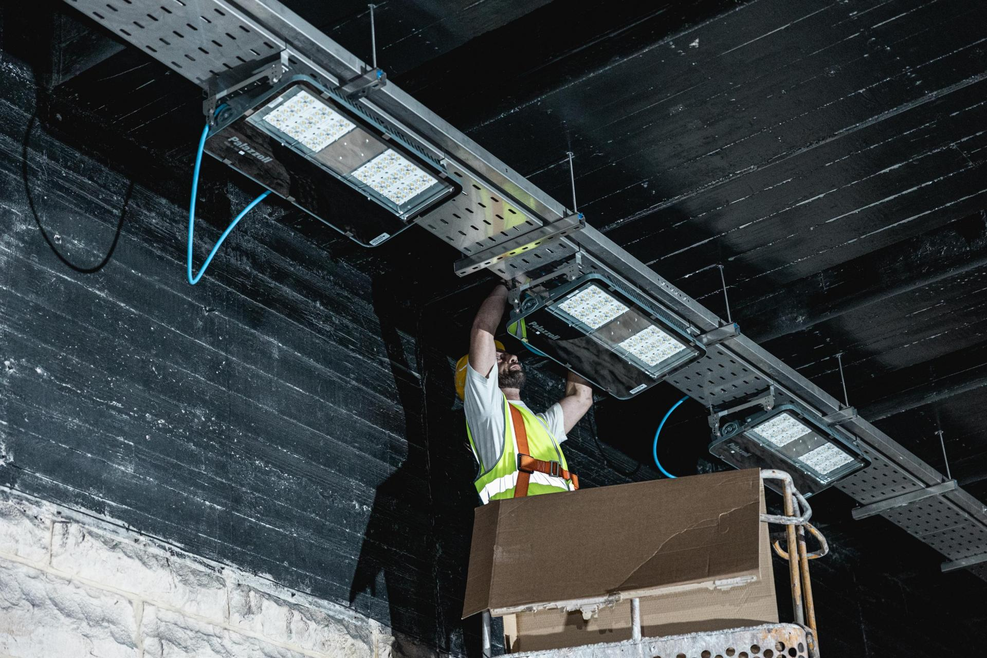 Lighting works at the Kirkop tunnel. Photo: Infrastructure Malta