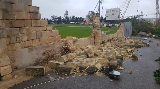 Walls toppled over at Hibs Stadium.
