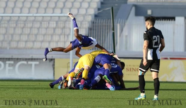St Andrew's players celebrate after a last minute goal to win their BOV Premier League match against Hibernian's at the National Stadium in Ta'Qali on December 17. Photo: Matthew Mirabelli