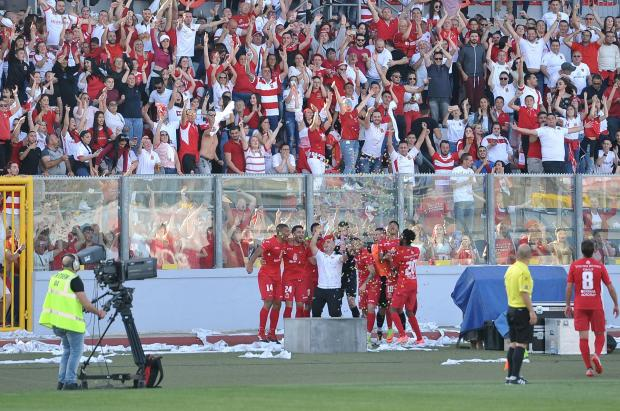 Valletta players celebrate their title with their fans. Photo: Chris Sant Fournier