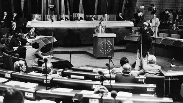 At the Strasbourg Parliament in 1979.