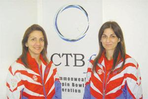 Melissa Anastasi (left) and Sue Abela captured a silver medal in the doubles event at the Commonwealth Championships.