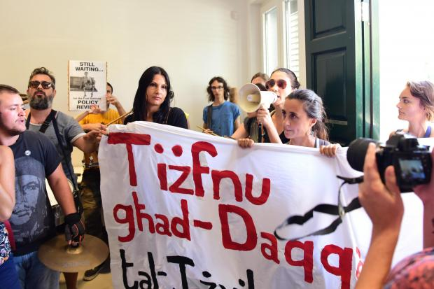 The protest at the PA last Thursday. Photo: Mark Zammit Cordina