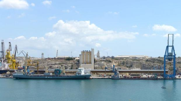 The MV Maria (left) seen after it berthed alongside the grain terminal. Photo: Matthew Mirabelli.