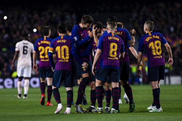 FC Barcelona team celebrating.