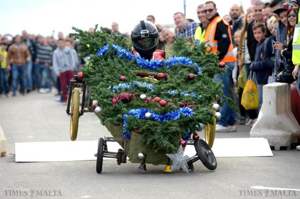The front axel of an entry in the soapbox competition snaps after going over the compulsory ramp during Paqpaqli Ghall-Istrina car show at Hal Farrug on December 7. Photo: Matthew Mirabelli