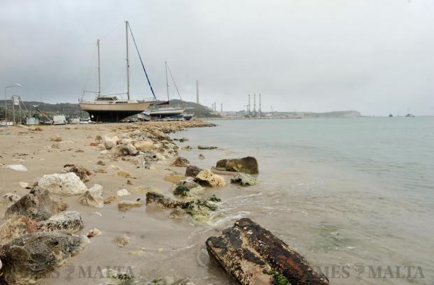 The Marsaxlokk sand and the Delimara power station on February 17. Photo: Chris Sant Fournier