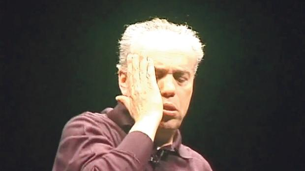 Italian actor Mario Pirovano in the title role in Dario Fo's Johan Padan.