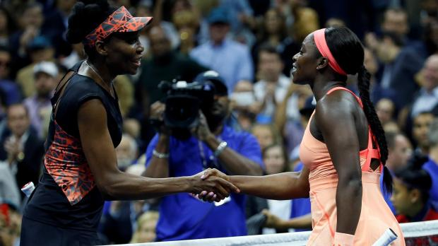 Sloane Stephens shakes hands after winning her match against Venus Williams.